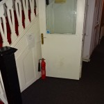 Fire extinguishers are for fighting small fires NOT wedging fire doors open!!!